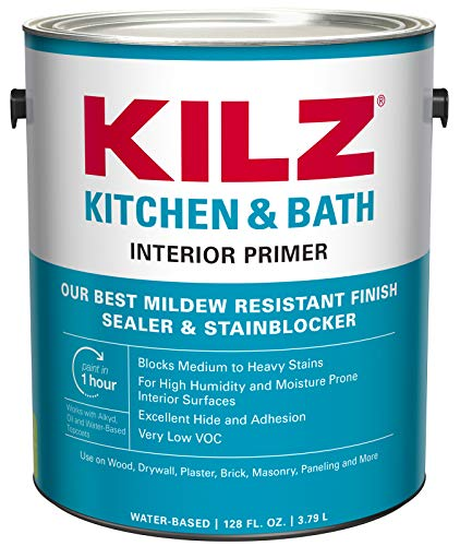 KILZ L204511 Kitchen & Bath Interior Latex Primer/Sealer/Stainblocker with Mildew-Resistant Finish, White, 1-Gallon, 1 Gallon, 128 Fl Oz