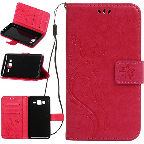 Harryshell Galaxy On5 Case, (TM) Butterfly Flower PU Leather Wallet Protective Flip Pouch Case Cover with Card Slots & Stand for Samsung Galaxy On5 (A-07)