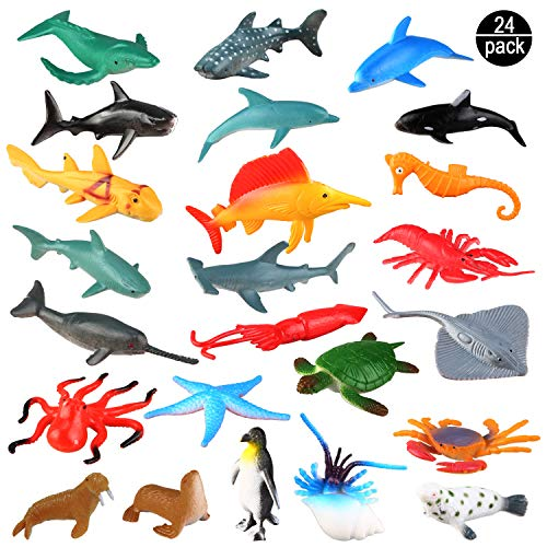 Sea Ocean Animals Plastic Pool Toys Set (24 Pack) for Party Favor Supplies - Display Model Play Set Realistic Deep Sea Animal Figures Birthday Gifts with Turtle Octopus Shark for Children Education