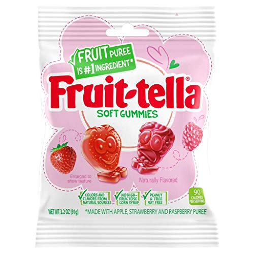 Fruit-tella Soft Gummies, Strawberry & Raspberry Flavors, 3.2 Ounce Bag - 12 Count Box