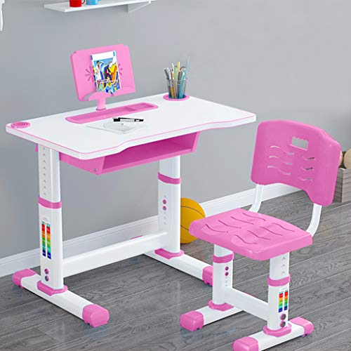 Kids Desk and Chair Set, Writing Table Set for Children, Height Adjustable Children Study Desk Table & Chair Drawing Set Bookstand with Storage Drawer Pen Container, Multifunctional Study Table