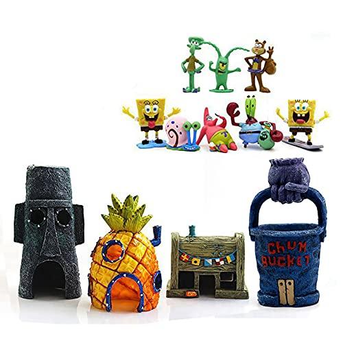 N\C Spongebob Aquarium Decorations Set 12PCS