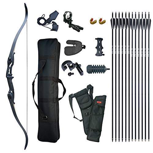 D&Q Hunting Recurve Bow and Arrow Set for Adults Kit Black Hunter Longbow Archery Hunting Target Practice Takedown Longbow Package 30 35 40 45 50 lbs Right Handed with Bow Case Stringer Arrow