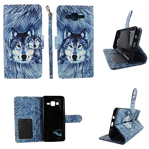 Snow Wolf Wallet Folio Case for Samsung Galaxy On5 G550 Dual Layer Interior Design Flip PU Leather Cover Card Cash Slots & Stand
