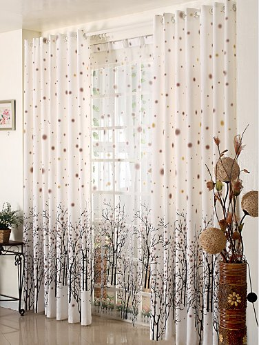 Elleweideco Modern Tree Branch Window Curtains/Drape/Panel and Matching Sheer (Broown Green Dots, 52Wx95L Curtain)