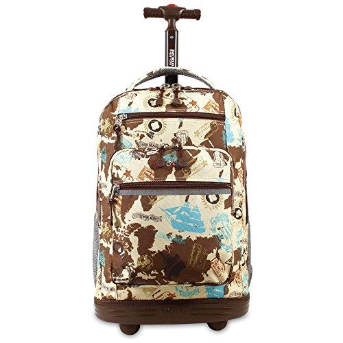 J World New York Rolling Backpack Girls Boys Roller Bookbag Wheels, Atlas, One Size