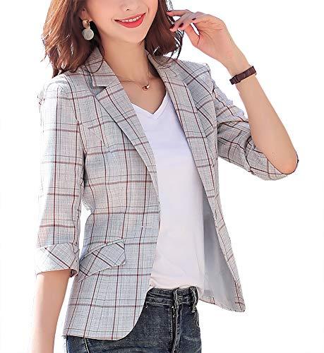 SUSIELADY Womens Notched Lapel Pocket Single Button Casual Work Office Blazer Jacket Slim Fit Blazer for Business Lady (T96-Grey, XL)