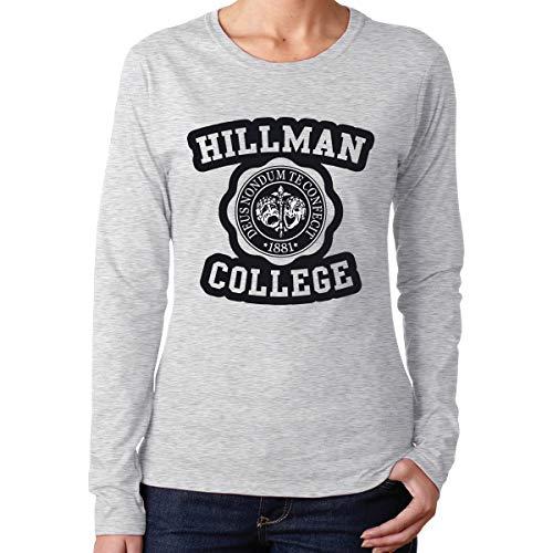 Hillman College Logo Women's Classic-Fit Long-Sleeve Crewneck Cotton Graphic Top Tee T-Shirt Gray