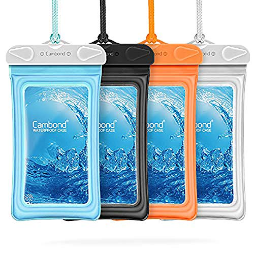 Floatable Waterproof Phone Pouch, Cambond Floating Water Proof Cell Phone Case Both Sides Clear Dry Bag for iPhone 12 Pro Max/XR/8/7 Galaxy Pixel Up to 6.5', Snorkeling Cruise Ship Kayaking, 4 Pack