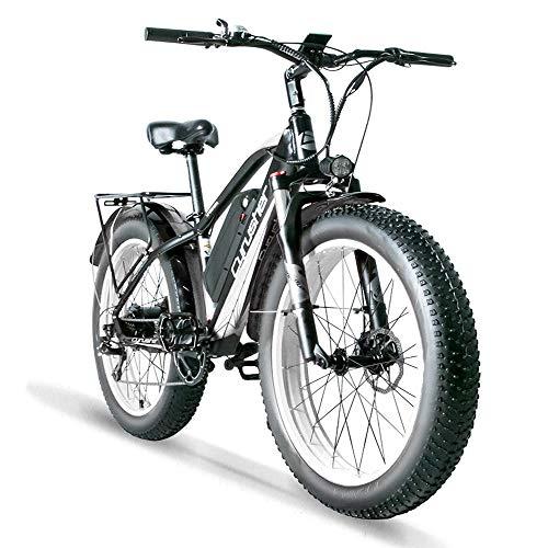 Cyrusher XF650 1000W Electric Mountain Bike 264 inch Fat Tire e-Bike 7 Speeds Beach Cruiser Mens Sports Mountain Bike for Adults,48V 13AH Lithium Battery Beach Cruiser for Adults (White)