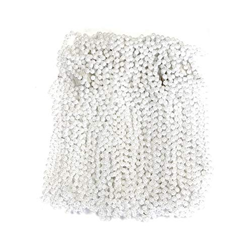 White Pearl Mardi Gras Beads 33 inch 7mm, 6 Dozen, 72 Necklaces