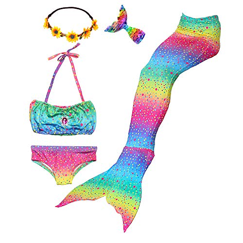 Mskseciy Girls Swimsuit 3Pcs Mermaid Tails for Swimming Costume Party Supplies Swimsuit Swimwear Bikini for 3-12Y (Rainbow Mermaid,4-5 Years