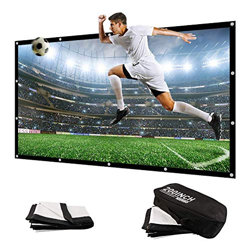 NIERBO 200 Inch Large Huge Projector Screen Big 16:9 3D Portable Movie Screen of Canvas Material Folding Projection Screen HD for Outdoor Indoor Home Theater Church with a Black Projector Bag