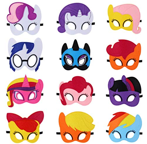 Park Ave Felt Mask for My Little Pony Theme Party - 12 Masks - Comfortable, One-Size-Fits-Most Design - Premium Quality Eco-Felt and Fleece. Perfect for Birthday, Gift, Party Favor, Cosplay!