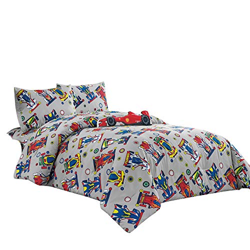 WPM Kids Collection Bedding 4 Piece Sport car Twin Size Comforter Set with Grey Sheet Pillow sham and red Race Car Toy Fun Sports Design (Race Me Cars, Twin Comforter)