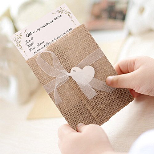 AerWo 50Pcs Burlap Rustic Wedding Invitations with Envelopes Kit, Vintage Fill in Wedding Invitations Cards for Wedding Bridal Shower Baby Shower Engagement Graduation Invite