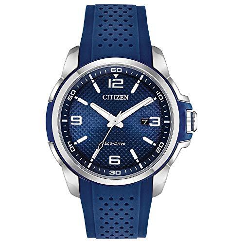 Citizen Men's Drive Stainless Steel Quartz Rubber Strap, Blue, 23 Casual Watch (Model: AW1158-05L)