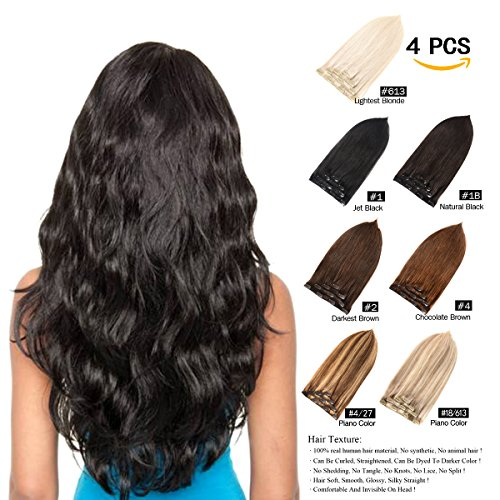 GEELOOK Clip in Hair Extensions 16' Double Weft 100% Remy Human Hair Grade 7A Quality Thick Long Soft Silky Straight 4pcs 10clips for Women 70grams Darkest Brown #2 Color