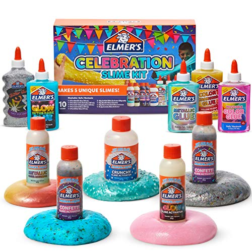 Elmer's Celebration Slime Kit   Slime Supplies Include Assorted Magical Liquid Slime Activators and Assorted Liquid Glues, 10 Count
