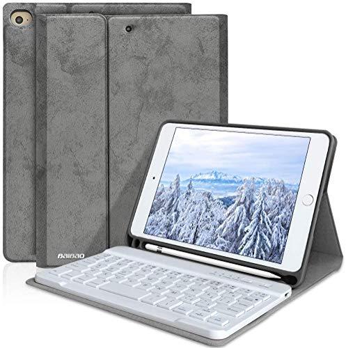 iPad Keyboard Case Mini 5 -iPad Mini 4 with Pencil Holder Removable Wireless Bluetooth Keyboard, iPad Mini 5th Generation Case with Keyboard for 7.9 inch Mini 4 2015(Grey)
