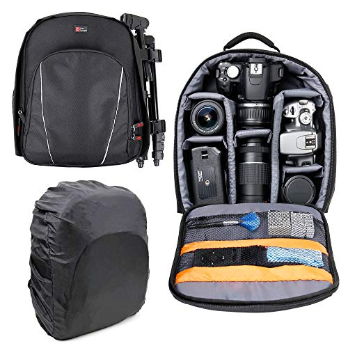DURAGADGET Black Water-Resistant Rucksack with Customisable Interior & Raincover - Compatible with Gaosa Portable Wireless Speaker 10261559