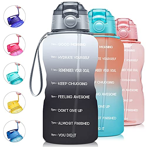 Giotto Large 1 Gallon/128oz Motivational Water Bottle with Time Marker & Straw,Leakproof Tritan BPA Free Water Jug,Ensure You Drink Enough Water Daily for Fitness,Gym and Outdoor Activity-White/Gray