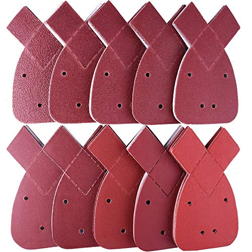 AUSTOR 100 Pieces Mouse Sandpaper with Extra 2 Tips Hook and Loop 40/60/80/100/120/180/240/320/400/800 Grits Fit Black and Decker Detail Palm Sander