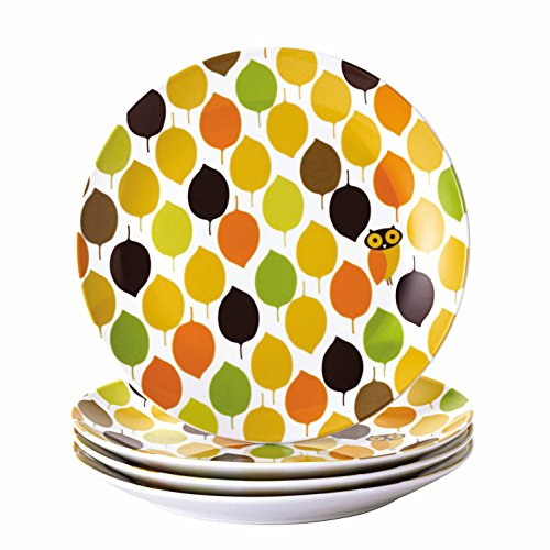 Rachael Ray Dinnerware Little Hoot 4-Piece Salad Plate Set, Print