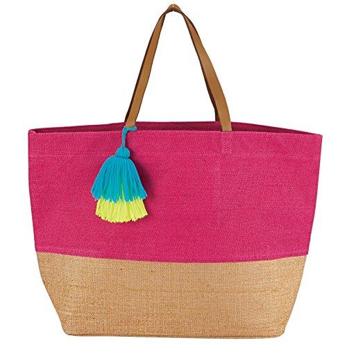 Mud Pie 8613351P Color Block Jute Tote Bag, Pink