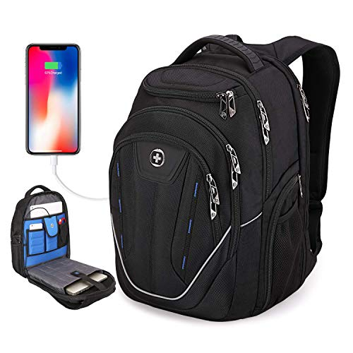 SwissDigital Terabyte TSA-Friendly Water-Resistant Large Backpack, Business Laptop Backpack for Men with USB Charging Port/RFID Protection Big School Bookbag Fits up to 15.6' Travel Laptop Backpack