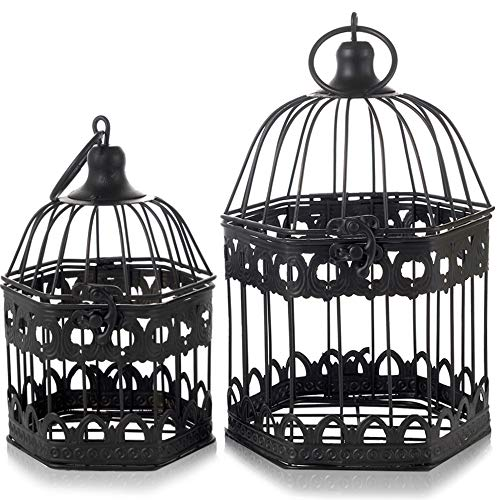 LONGBLE 2Pcs Black Metal Wedding Birdcages Gifts Card Holder Vintage Decorative Hanging Candle Latern Beautiful Wedding Reception Piece Bird Cages for Small Birds Home Decorations Party Accessories