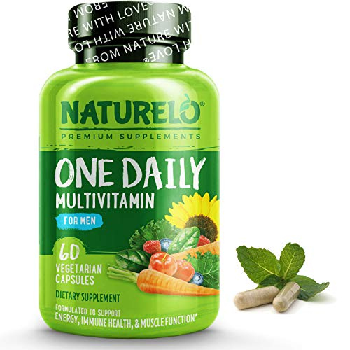NATURELO One Daily Multivitamin for Men - with Whole Food Vitamins & Organic Extracts - Natural Supplement - for Energy, General Health - Non-GMO - 60 Capsules | 2 Month Supply