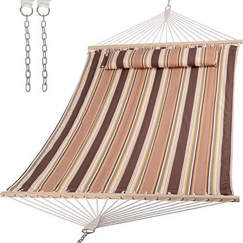 SUNCREAT 2 Person Outdoor Hammock, Portable Heavy Duty Hammock for Tree, Max 475lbs Capacity, Brown Stripes