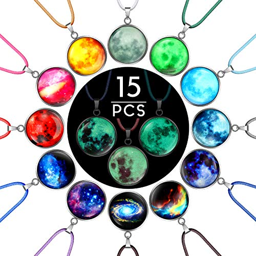 15 Pieces Galaxy Pendant Necklace Glowing Space Necklace Glass Universe Necklace for Costume Props Birthday Party Favors Bag Fillers