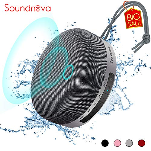 Travel Case Included- 8W Bass Soundnova 3D Mini Portable Bluetooth Shower Speaker, IPX5 Waterproof Certified, 15H Playtime, Micro SD, Perfect Wireless Water Resistand Speaker for Tablet PC Gift, Grey