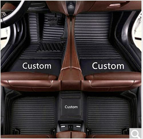 hyhydemt Fit for Cadillac SRX CTS Escalade Coupe Sedan SUV 2005-2019 All Weather Car-Styling Custom Luxury Leather Waterproof Floor Mats Logo Stripe (Cadillac CTS (4 Door Sedan) 2004-2013,Black)