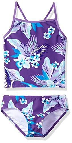 Kanu Surf Girls' Big Melanie Beach Sport 2-Pc Banded Tankini Swimsuit, Alania Floral Purple, 10