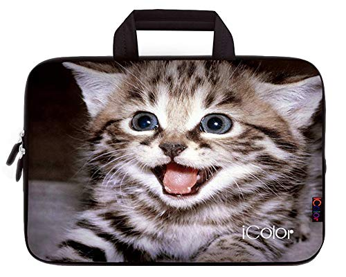 iColor Kitten 11.6 12 12.1 12.2 Inch Neoprene Laptop Carrying Bag Case, Protective Chromebook Ultrabook Sleeve Case Cover Compatible with Most 11.6-12.2 Inches Netbooks/Laptops/Notebooks(IHB12-08)
