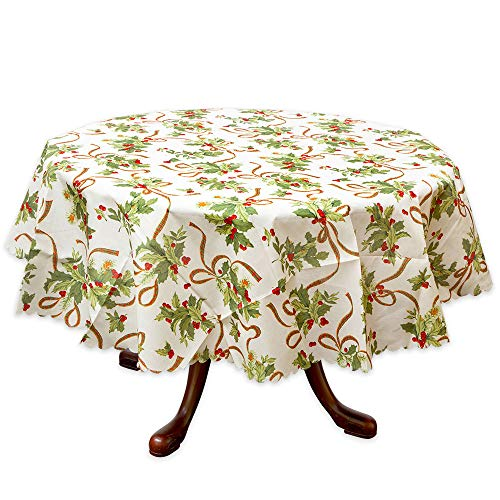 Bits and Pieces - Holly Tablecloth - Christmas Tablecloth 70 inch Round
