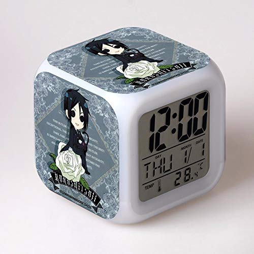 Deco Space Japan Anime Black Butler Digital Multifunctional Alarm Clock with Glowing 7 Led Color Changing Lights PVC