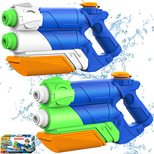 Shimirth Water Gun for Kids, Super Water Soaker Blaster 2Pack 1200CC High Capacity Water Guns for Adults, Dual Nozzle 30 Ft Long Shooting Range Squirt Gun for Boys Girls Summer Swimming Pool Beach Toy
