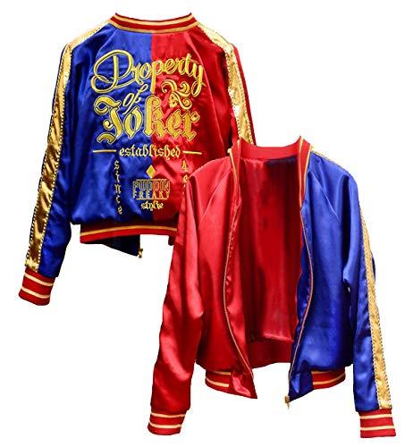 Property of Joker Harley quinn Cosplay Halloween Jacket For Women (Large, Satin)