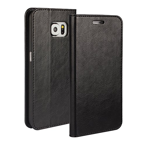 Galaxy S6 Wallet Case, Jaorty Genuine Leather Folio Flip Case Cover Book Design with Kickstand Feature with Card Slots/Cash Compartment for Samsung Galaxy S6 (5.1') - Black