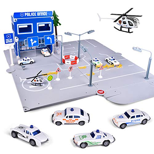 FUN LITTLE TOYS 93 Pcs City Police Station Building Kit, Police Car Toy Sets with 5 Pack Vehicles for Kids Gifts