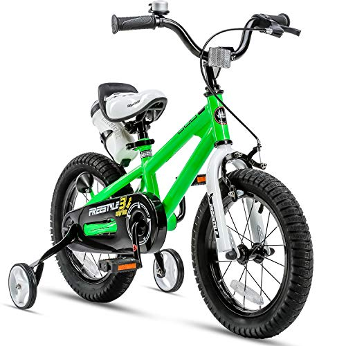 RoyalBaby Kids Bike Boys Girls Freestyle BMX Bicycle with Training Wheels Kickstand Gifts for Children Bikes 16 Inch Green