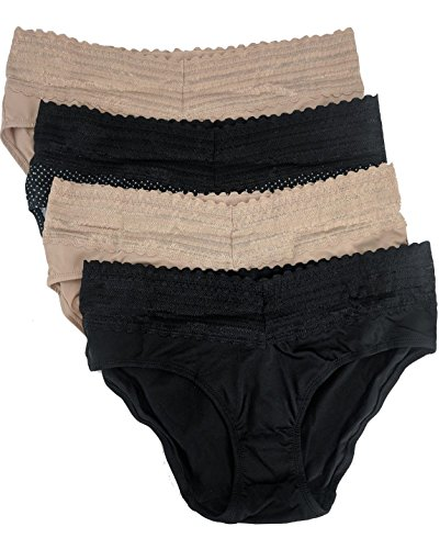 Warner's Womens No Pinches No Problems Hipster Panty 4-Pack, Medium,Beige/White dot/Beige/Black