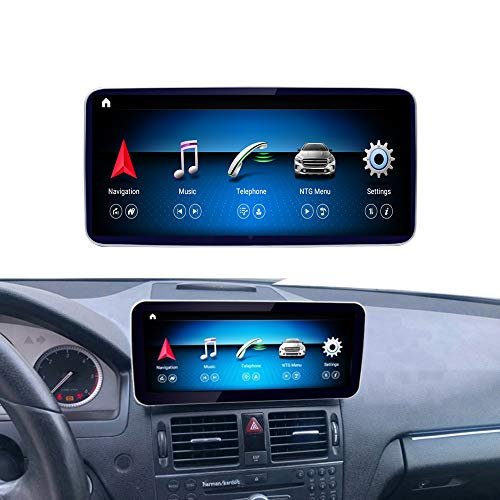 Road Top Android 10 Car Stereo 10.25' Touch Screen for Mercedes Benz C Class W204 C200,C230,C250,C300,C280,C350 2008 to 2010 Year, Support Wireless Carplay, Wireless Android Auto and Split Screen