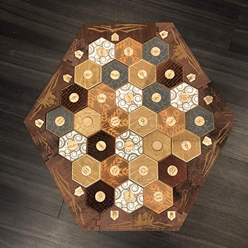 Stained Wood Game Board With Custom Laser Etched Terrain, Border and Number Tokens Compatible with Settlers of Catan 5-6 Player Wooden Board Game