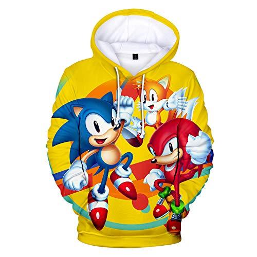 Cheerful D Sonic-Hedgehog Unisex Hoodie 3D Printed Hooded Pullover Sweatshirt for Men Women Boys Girls M Yellow
