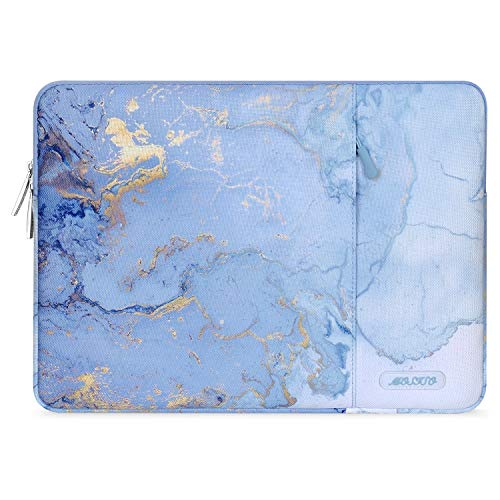 MOSISO Laptop Sleeve Case Compatible with 13-13.3 inch MacBook Pro, MacBook Air, Notebook Computer, Polyester Vertical Watercolor Marble Bag with Pocket